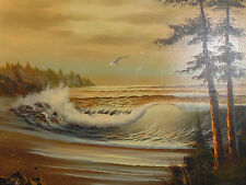 Beautiful Seascape Oil on Canvas Framed Painting SIGNED DeBales