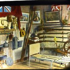 Vtg Magic Lantern Glass Slide Photo Nova Scotia 1920s British Flag Museum