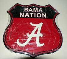 ALABAMA  BAMA NATION SHIELD Sign  ROLL TIDE! MAN CAVE GAME DORM ROOM FOOTBALL