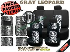 Snow Leopard Padded MESH Floor Mats Steering Wheel Car Seat Covers Seatbelt Pads