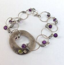 Gorgeous Vintage Handmade Abstract Amethyst Gemstones Sterling Silver Bracelet