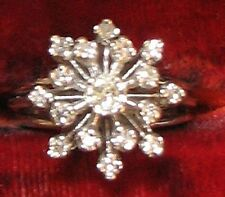 VINTAGE 1950s 14K white gold 1/2 CARAT, DIAMOND CLUSTER RING sz 6 1/2, 6 grams
