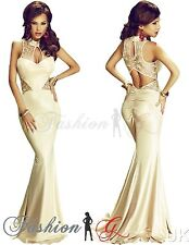 Womens Evening Dress Maxi Ball Gown Prom Party Formal Long Beige Lace Size 8 10.