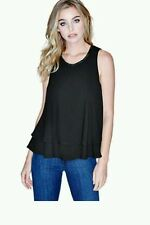 GUESS BY MARCIANO BLACK Jada Sleeveless Flutter Tank SIZE XS