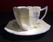 *RARE* SHELLEY SUNSET AND BLUE IRIS TEA CUP & SAUCER  ART DECO 1930's