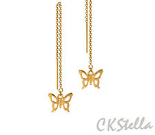 *CKstella* Fluttering Butterfly Dangle 14K Gold gf Ear Thread Threader Earrings