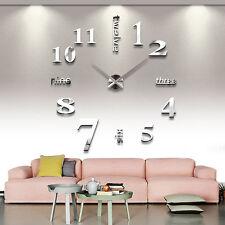 Modern Design Luxury DIY 3D Art Wall Clock Sticker Home Decor Mirrors Face Large