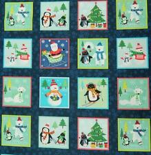 Patchwork Quilting Sewing Cotton Fabric Panel FROSTY CHRISTMAS 30x110cm NEW
