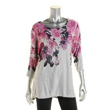 INC Womens L Gray Floral Print Knit Dolman Pullover Top L New