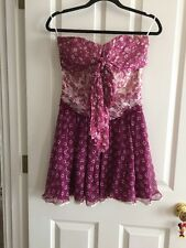 D&G Dolce & Gabbana Summer Purple Pink Silk Tiered Floral Dress Sz 38 US 2,4