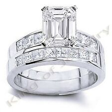 4.12 Ct. Emerald Cut Diamond Engagement Ring Bridal Set