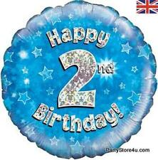 "18"" BLUE HOLOGRAPHIC FOIL BALLOON ""HAPPY 2ND BIRTHDAY"" CELEBRATION PARTY"