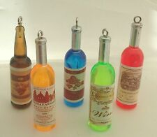 5 x RESIN WINE BOTTLE CHARMS - Coloured with labels, Alcohol