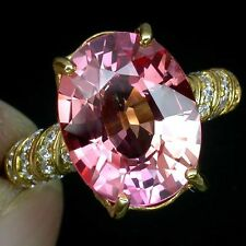 _LDN_  Bague Saphirs Padparadscha _Argent 925 + plaque or 14ct _T 54