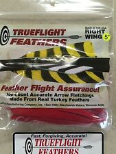 Trueflight 5 inch Feathers Right Wing Shield Cut 100 pack Red