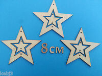 3 HANGING STARS with small  stars in centre Wooden Laser Cut Shapes Decorations