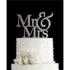 Mr&Mrs Romantic Silver Shiny Cake Topper Wedding Party Top Letter Decor 3.9''