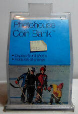 VTG 80's PLASTIC CLEAR 6'' PHOTO HOUSE COIN PIGGY BANK DISPLAYS 6 / 8 PHOTOS B