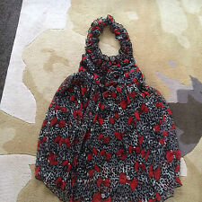 Black and red Cutie halterneck party/New Year dress 10/S fully lined