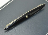 Antique 830s SOLID SILVER Black Enamel & Seed Pearl Mourning BAR BROOCH - Norway