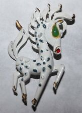 UNSIGNED TRIFARI VINTAGE PAINTED HORSE PIN FOR REPAIR-NICE!!!!!!!!!!!!!