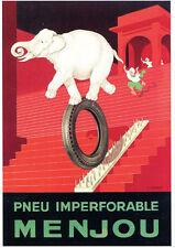 CPP058 CARTE POSTALE publicité PNEU MENJOU ELEPHANT par Pierre Mourgue