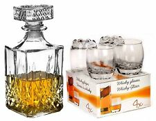 4 GLASS WHISKEY WINE 255 ml  GLASSES TUMBLERS & SQUARE GLASS DECANTER GIFT SET