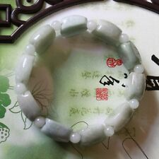 Untreated 100% Natural  A  Light Green JADE Carved Turtle Shell Bracelet #A263