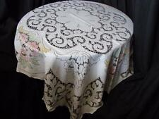 Pretty Vintage Spanish Lace Tablecloth~Ecru,Beige,Pastel Flowers~50in x 42in