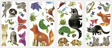WOODLAND ANIMAL FRIENDS wall sticker 35 decal turtle fox raccoon scrapbooking