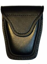 Black Leather Police Security Guard Officer Velcro Closure Handcuff Case Holder