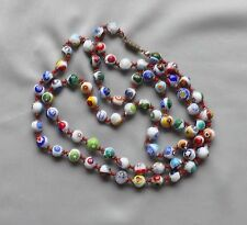 Vintage Italy Murano Venetian Millefiori Hand Knotted Glass Bead Necklace
