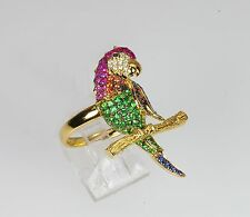 18k MULTI GEM RUBY BLUE SAPPHIRE GREEN GARNET DIAMOND BIRD PARROT MACAW RING