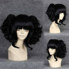 Short Straight Black Cosplay Wig with Ponytails -Split Type Wig 301F