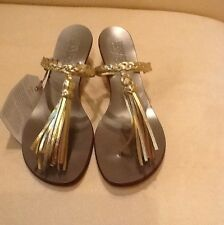 """Pucci"" 1960's Vintage Couture Bernardo Gold Tasseled Sandals Italy 9"