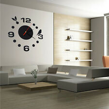 New DIY Large Wall Clock 3D Mirror Surface Sticker Home Office Decor Black