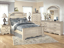WARREN - 5pcs Traditional Cottage White Queen Poster Panel Bedroom Set Furniture