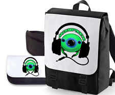 JACKSEPTICEYE DOUBLE PACK BAG/PENCIL CASE (GREEN EYE HEADSET ) BAGBASE