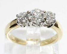 18K Gold Platinum 3 Stone Diamond Engagement Ring 1.00 CTTW Size 5.5