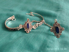 Moroccan Berber Ethnic Jewelry: Slave Bracelet Blue & Silver coloured (2)