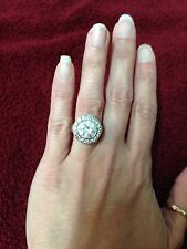 Womans Cz 625 Sterling Silver Large Round Stone with Row of Stones Cocktail Ring