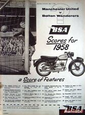 1958 B.S.A. Motor Cycles ADVERT - Manchester United v Bolton Wanderers Print AD