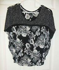 H&M Sz XS Black & White Floral Dolman Style Top Shirt