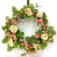 "Silk Blossom Wild Rose Wreath. Cream/Pink/Peach. 24"" Round"