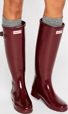 Women's Hunter Original Tall Refined Glossy Rain Boots Size 9 Dulse