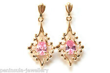 9ct Gold Pink CZ drop earrings Gift Boxed Made in UK