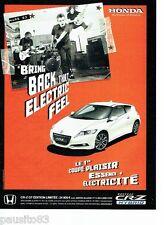 PUBLICITE ADVERTISING 116  2011  Honda   le coupé  CR-Z édition limitée