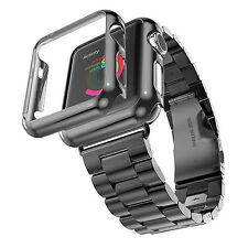 Stainless Steel Strap Band   Adapter   Case Cover for Apple Watch 42mm Black