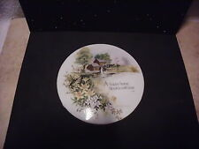 VINTAGE PORCELAIN WALL HANGING A HAPPY HOME BLOOMS WITH LOVE PASTORAL SCENE