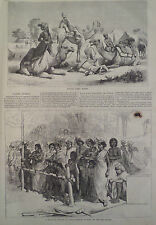 RAILWAY STATION INDIA, INDIAN CAMEL RIDERS HARPER'S WEEKLY 1876